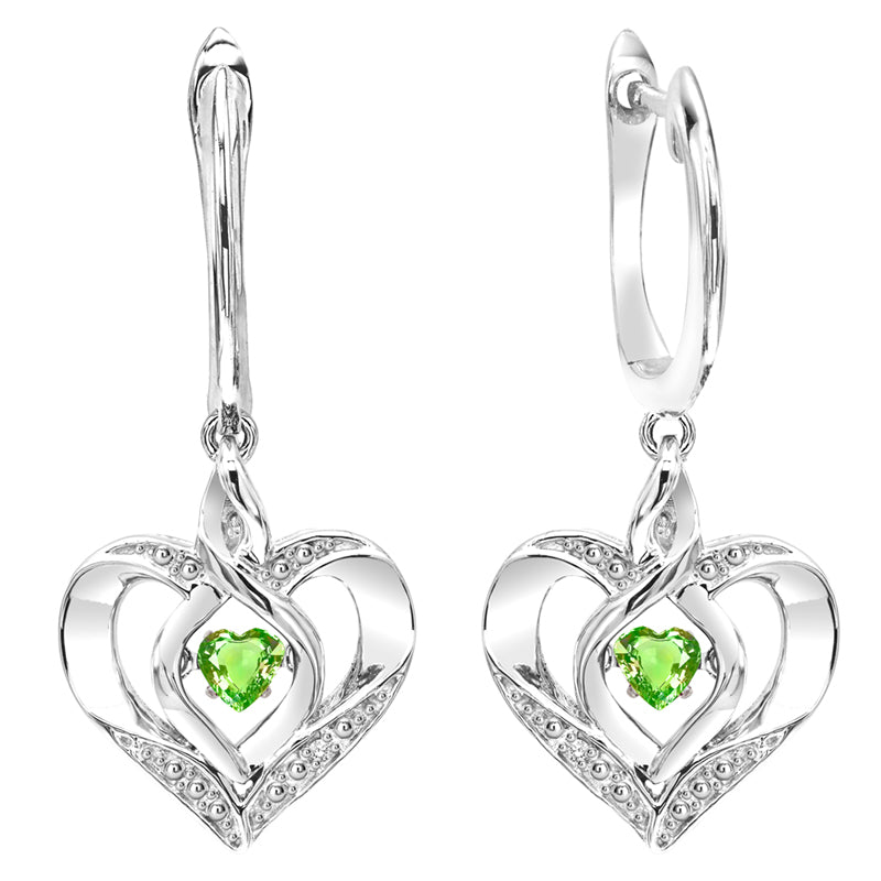 Created Peridot ROL Rhythm Of Life Infinity Heart Earrings In Sterling Silver