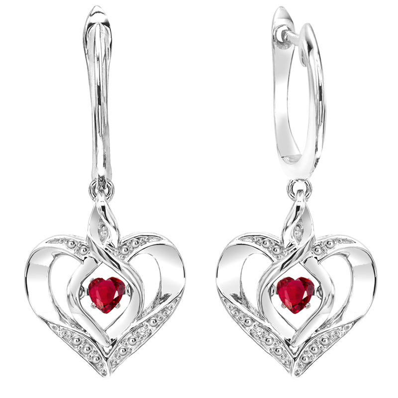 Sterling Silver ROL Prong Ruby Earrings 3/500CT