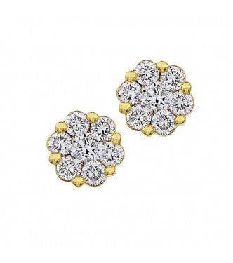 Flower Yellow Gold Diamond Stud Earrings