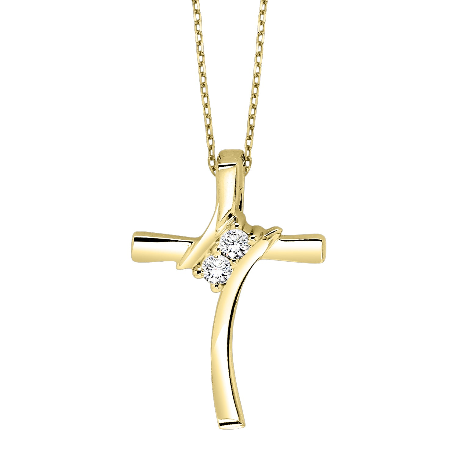 Diamond 2-Stone Cross Pendant Necklace In Sterling Silver