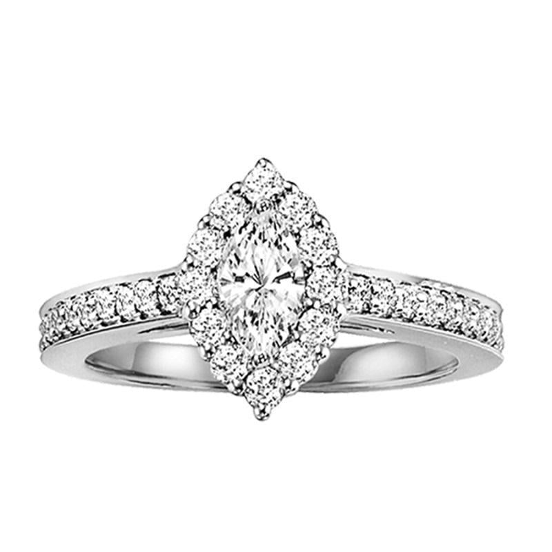 14KW Diamond Engagement Ring 3/8 ctw with 1/3 ct Marquise Cut Center