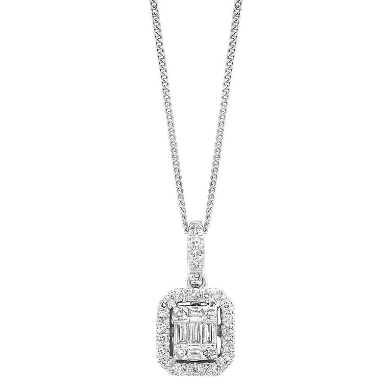 Diamond Rectangular Halo Drop Pendant Necklace in 14k White Gold (1/3ctw)