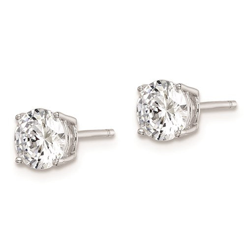 Sterling Silver Rhodium-Plated Round CZ 6mm Post Earrings