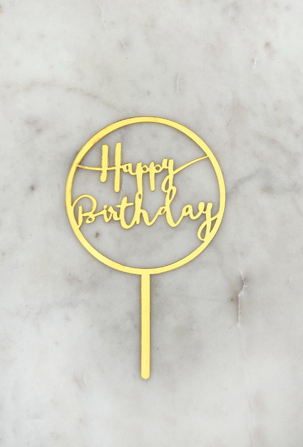 Topper Happy Birthday Circular Oro