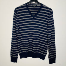 Load image into Gallery viewer, Navy and Gray Striped V-Neck Sweater (S)