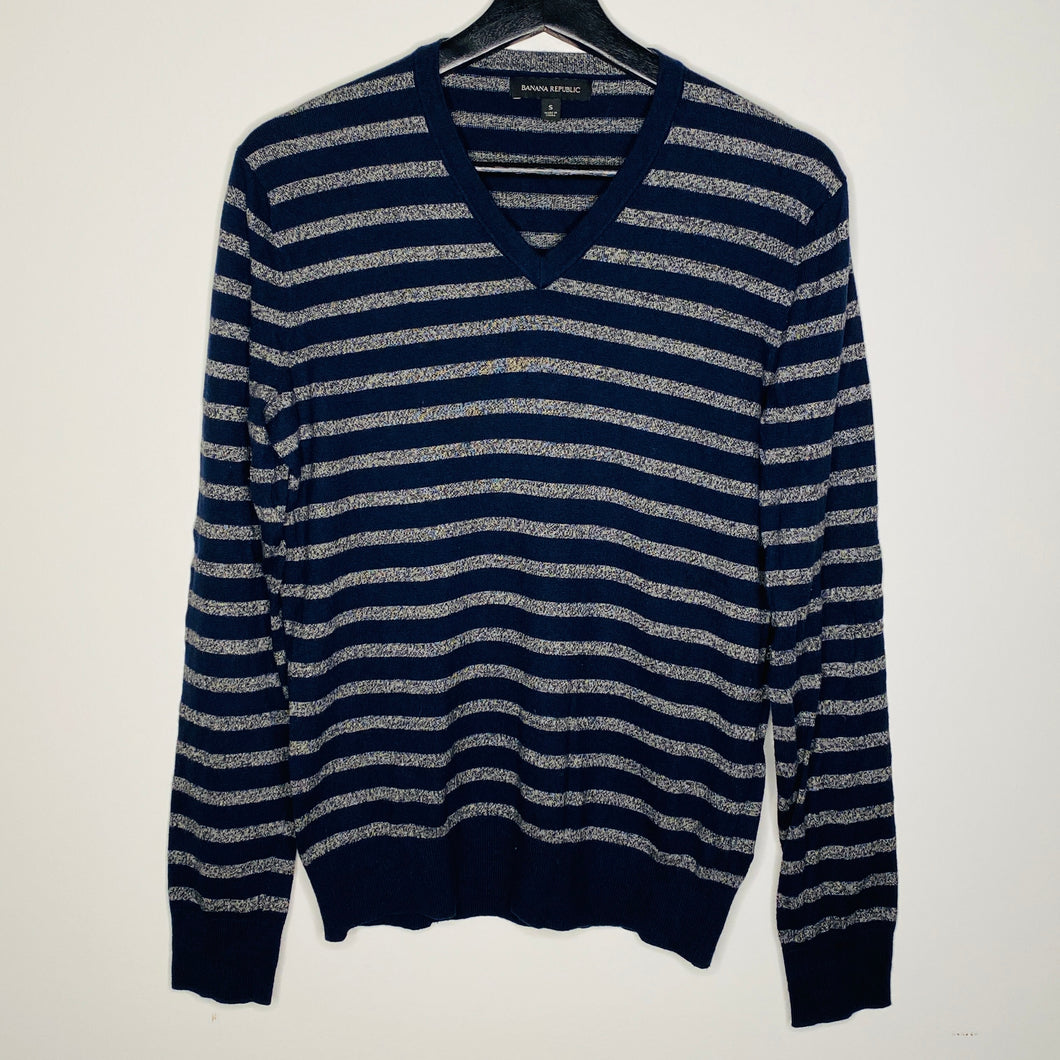 Navy and Gray Striped V-Neck Sweater (S)