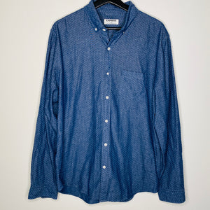 White Polka Dot Chambray Button Down (L)
