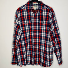 Load image into Gallery viewer, Navy, Red and White Plaid Flannel Shirt (L)