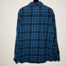 Load image into Gallery viewer, Navy Blue Plaid Flannel Shirt (L)