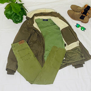 Sherling Olive Green Winter Jacket (M)