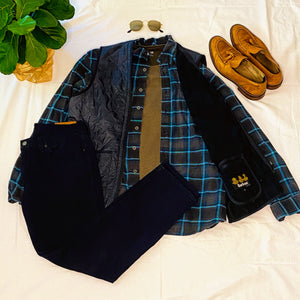 Navy Blue Plaid Flannel Shirt (L)
