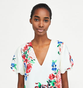 Flower Pattern V-Neckline Dress