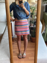 Load image into Gallery viewer, Gold and Coral Mini Pencil Skirt