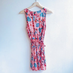 Pink Floral Wrap Dress Sleeveless