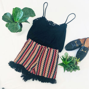 Multi-Color Crochet Fringe Shorts