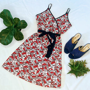 Red Hibiscus Wrap Dress