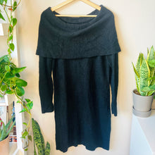 Load image into Gallery viewer, Off-the-Shoulder Black Sweater Dress (M)