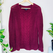 Load image into Gallery viewer, Maroon Cable Knit Sweater (M)