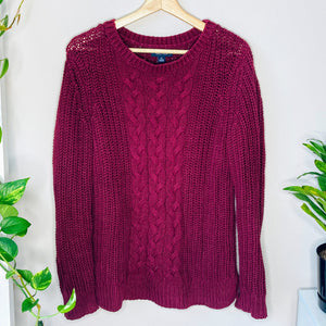 Maroon Cable Knit Sweater (M)