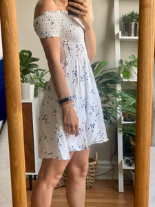 Blue Dot Off-the-Shoulder Dress