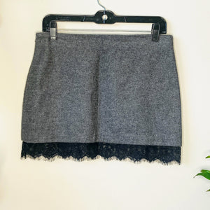 Gray Mini Skirt with Lace (S)