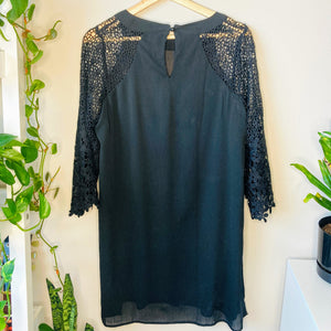 Black Dress with Crochet Sleeves (L)