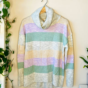 Oversized Pastel Colorblock Sweater (S)