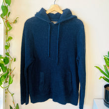 Load image into Gallery viewer, Navy Waffle Knit Hoodie Sweatshirt (L)