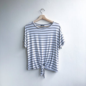 Front Knot Stripped T-Shirt