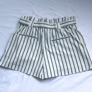 White Striped Tie Waist Paper Bag Shorts