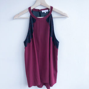 Bank Neck Maroon Top with Black Lace