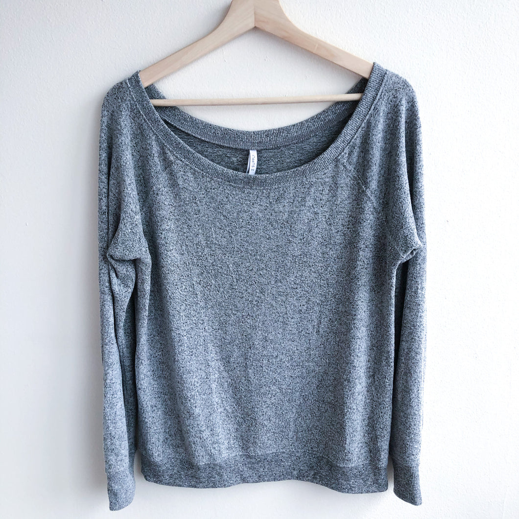 Gray Off Shoulder Loose Fleece Long Sleeve