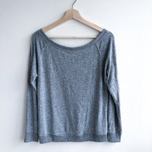Load image into Gallery viewer, Gray Off Shoulder Loose Fleece Long Sleeve