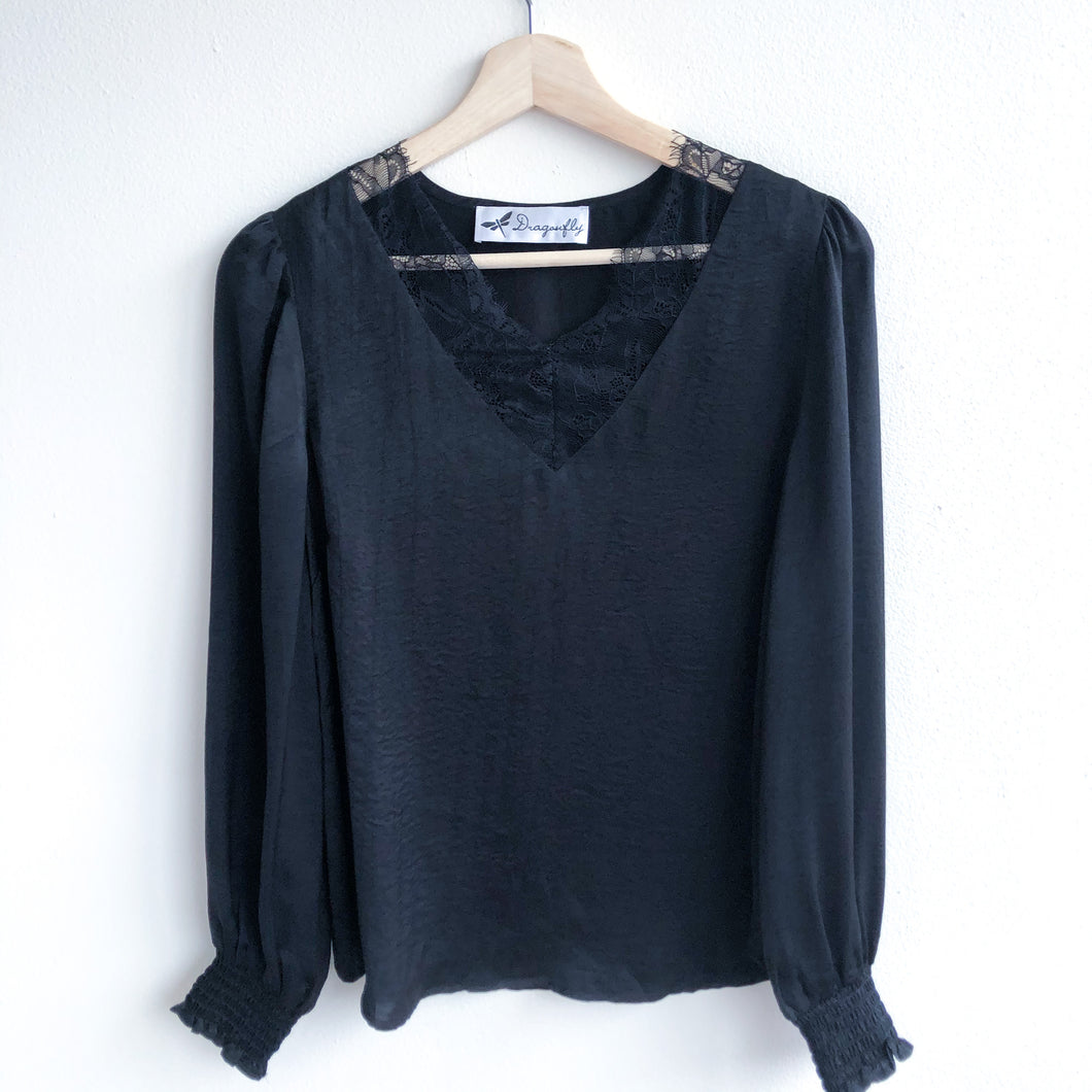 Black Lace Inset Blouse