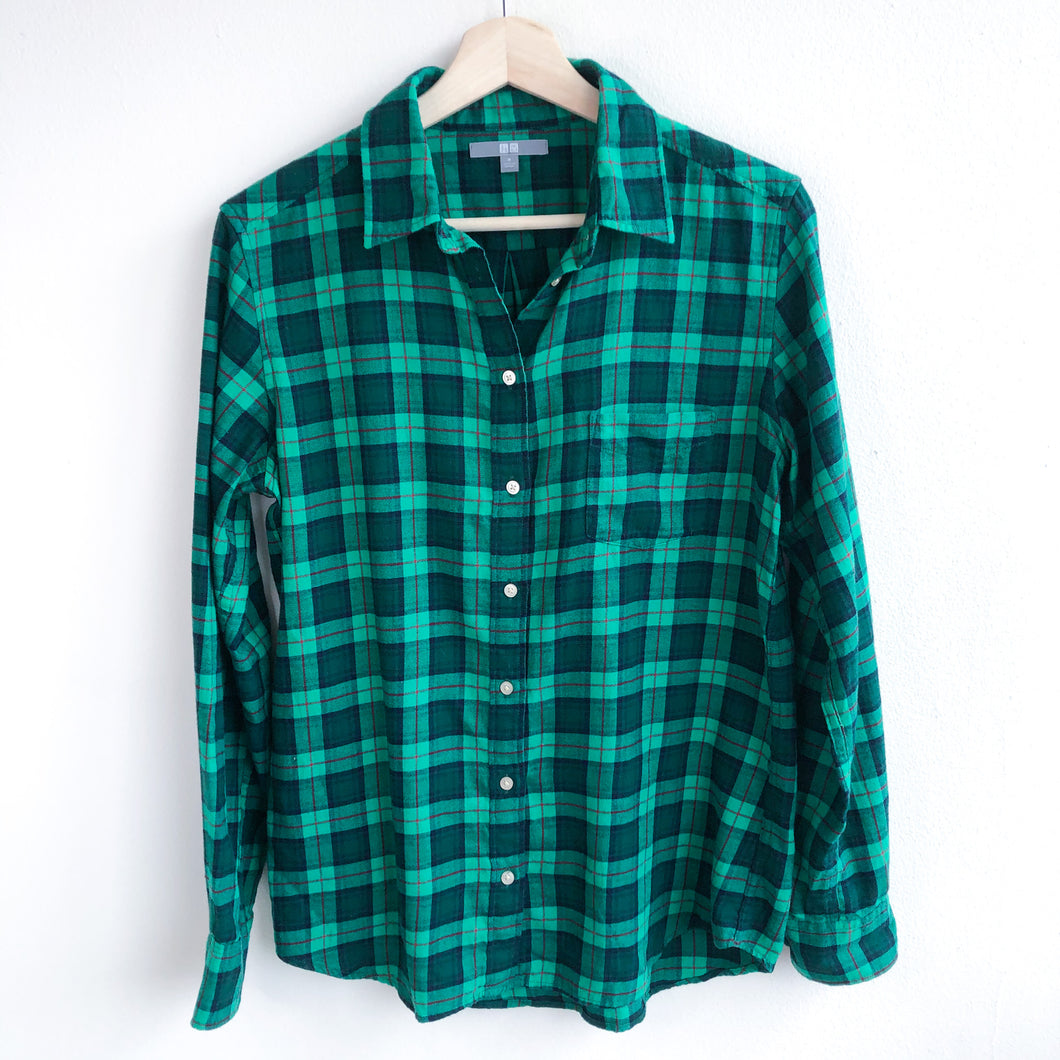 Green Flannel Check Long Sleeve Shirt