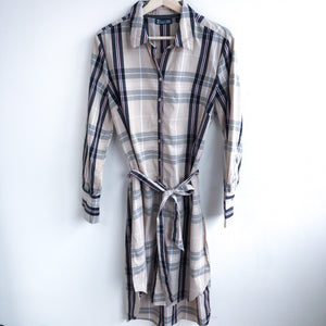 Belted Plaid Shirt Dress (L)