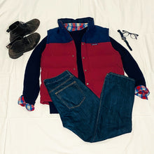 Load image into Gallery viewer, Navy and Red Flannel Shirt (L)