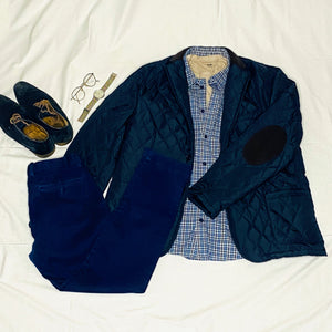 Navy Quilted Jacket with Corduroy Accents (XL)
