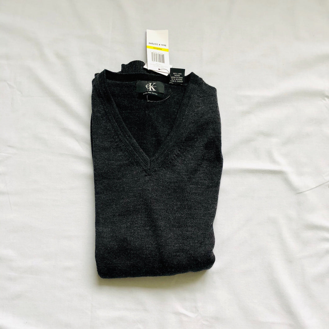 Charcoal Gray Merino V-Neck Sweater