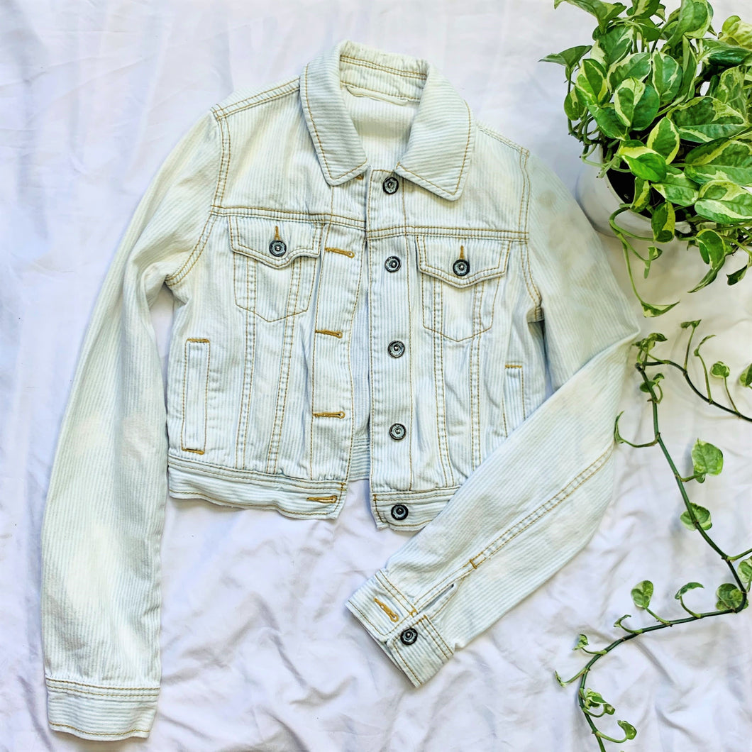 Light Wash Pinstriped Jean Jacket