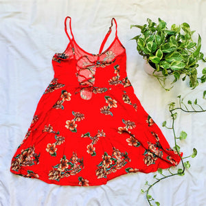 Red Floral Lace Up Back Spaghetti Strap Dress