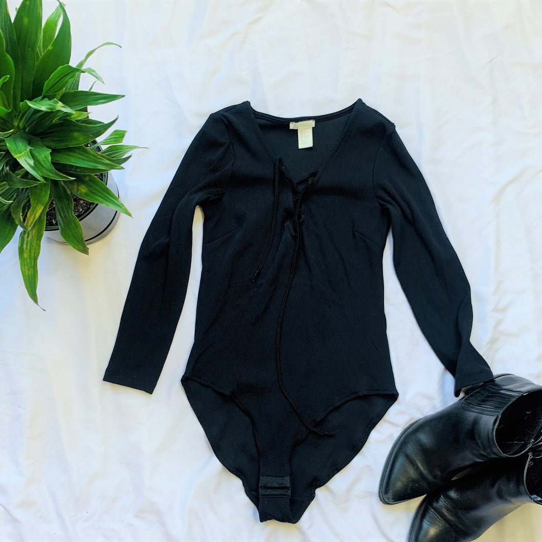 Lace Up Black Long Sleeve Bodysuit