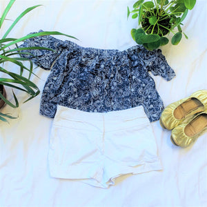 White Cuffed Flat Front Shorts