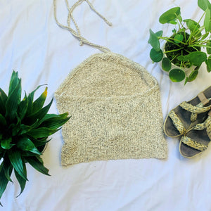 Oatmeal Sheer Knit Halter Top