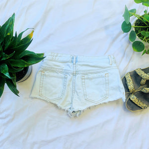 Distressed Light Jean Shorts
