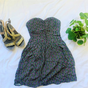 Strapless Purple and Green Floral Dress