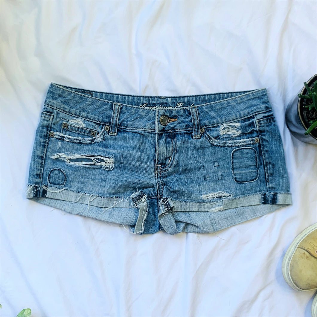 Distressed Cut Off Jean Shorts