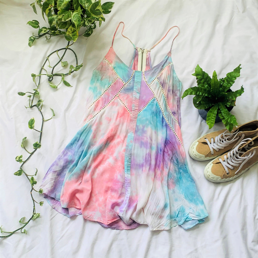 Tie Dye Cutout Swing Dress