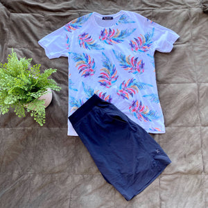 White T-Shirt with Colorful Leaf Pattern
