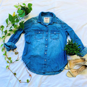 Boyfriend Fit Denim Button Down